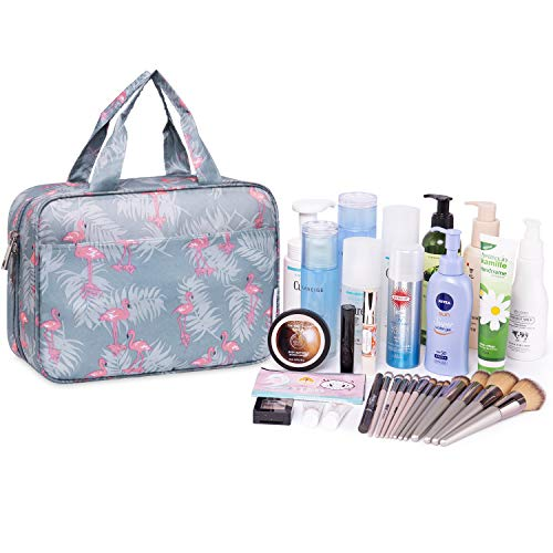 Large Hanging Toiletry Bag Travel Makeup Bag Cosmetic Organizer for Women and Girls (Flamingo)