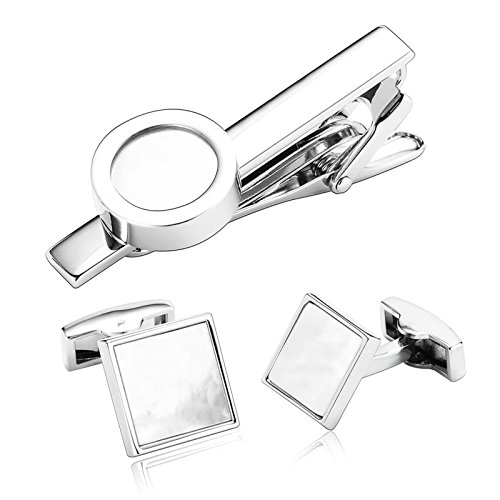 - Aooaz Cufflink for Men Stainless Steel Cufflink and Tie Clip for Mens White CZ Crystal Shirt 1.5X1.5CM