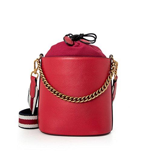 GSHGA Bolso De Hombro Femenino Bolso Diagonal Del Paquete Bolso De Cubo Grande De La Manera De La Moda Del Cuero Genuino,Black Red