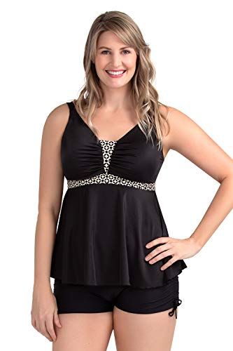 Two Piece Maternity Dress - PERONA Women's Two Piece Swimwear Sexy Halter V Neck Tummy Control Tankini Plus Size Swimsuit (US12(Read The Size Chart in Our Image), Black)