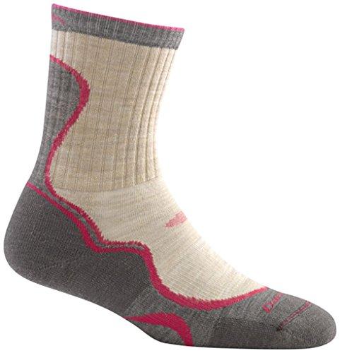 Darn Tough Merino Wool Light Hiker Micro Crew Light Cushion Sock - Women's Oatmeal/Fuchsia Small (Past Season)