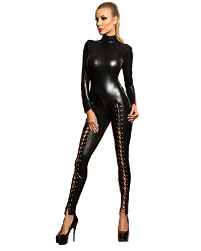 Fashion Queen Womens Wetlook High Neck Catsuit Lace-up Legs Jumpsuit 2 Way Zipper Clubwear (Small, Black)