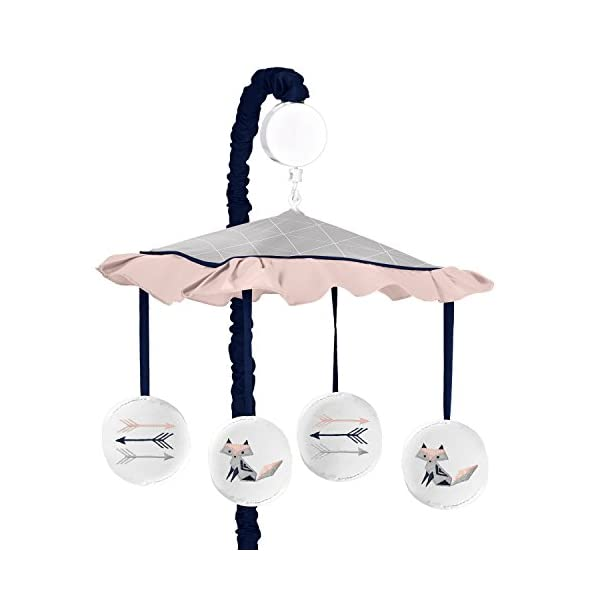 Sweet Jojo Designs Navy Blue, Pink, and Grey Musical Baby Crib Mobile for Woodland Fox and Arrow Collection by