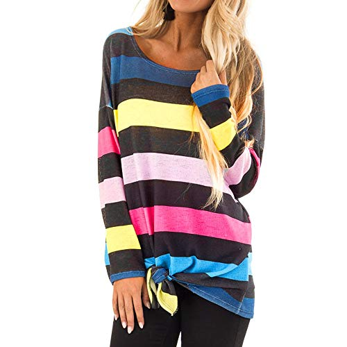 - Xinantime Short Sweatshirt Striped Print Pullover Tie Knot Front Hem Women Long Sleeve Blouse Sweatshirt Tops Blue
