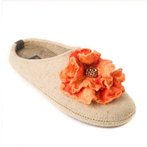 6dcb921714 Made For You Women's Natural Wool Slippers with Handmade Begonia flower,  Lightweight and Comfortable with