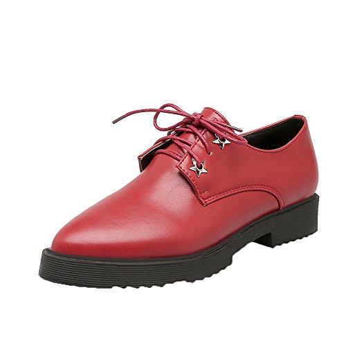Allhqfashion Femme Solide Pu Talons Bas Fermé-orteil Pompes À Lacets-chaussures Rouge