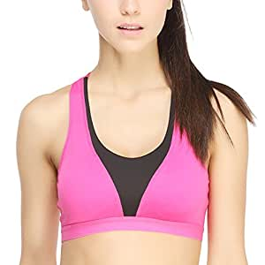 Yvette Women Racer Back/Wire Free/Wide Straps Running Sports Bra #7003, Rose/Black, 38A/85A