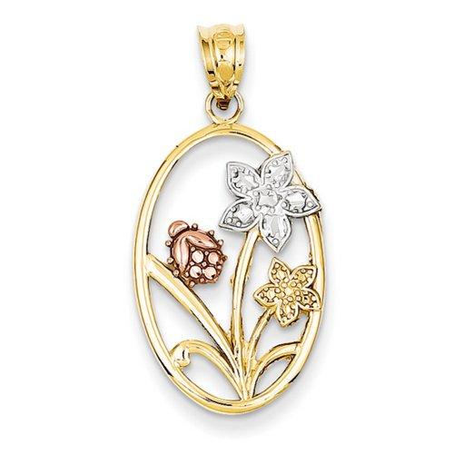 Icecarats Créatrice De Bijoux 14K Bicolore Rhodium Taille Diamant Ovale Pendentif Floral