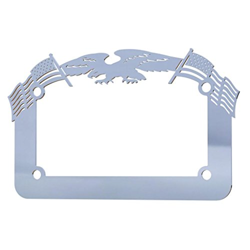 Polished Chrome Eagle - Ferreus Industries Polished Stainless Chrome Motorcycle License Plate Frame Eagle American Flag Eagle - 1 Piece LIC-119
