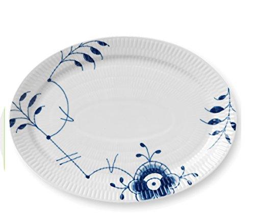(Blue Fluted Mega Oval Plate or Platter, 11