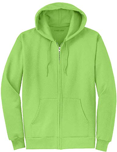Joe's USA Full Zipper Hoodies - Hooded Sweatshirts Size S, Lime ()