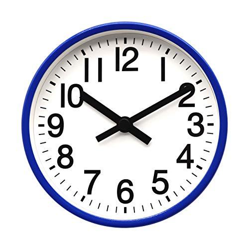 COMODO CASA Wall & Desk Clock- Metal Blue Frame-Glass Cover-Non Ticking-Quartz Sweep-Silent 6 inch Retro Clock,White