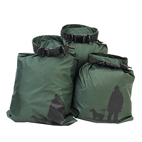 LEORX 1.5L+2.5L+3.5L Waterproof Dry Bag Storage Pouch Bag for Camping (Army Green)