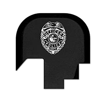 BASTION Rear Slide Cover Plate for Smith & Wesson S&W M&P Shield 9mm .40 ONLY, Butt Plate with Laser Engraved Image - Police Badge