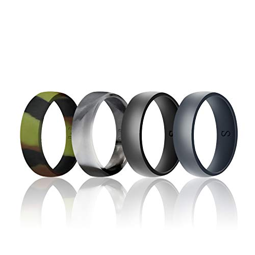 (WIGERLON Mens Silicone Wedding Ring &Rubber Wedding Bands Width 8mm Color Camo Pack of 4 Size 11)