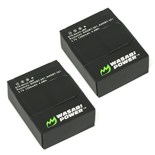 Wasabi Power Battery for GoPro HERO3, HERO3+ and GoPro AHDBT-201, AHDBT-301, AHDBT-302 (1200mAh, 2-Pack)