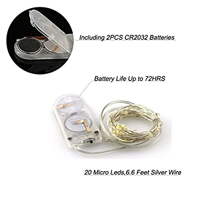 LXS Battery Operated String Lights 10 Sets of 7Ft /20 LEDS Warm White Color,Amazingly Bright - Ultra-thin Flexible Easy to Wrap Silver Extra Thin Copper Wire,Fairy Light Effect