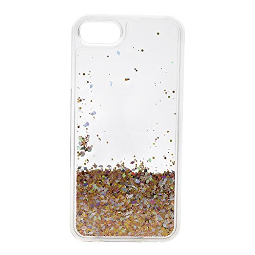 MagiDeal Caja de Patrón de Bling Brillante de Plata de Brillo Cadena Negra de Borla de Gema para IPhone7