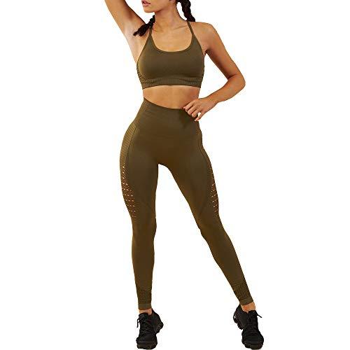 WODOWEI Women 2 Piece Outfits Leggings+Sports Bra Yoga Set Long Pants Tracksuits (YO316-green-L)