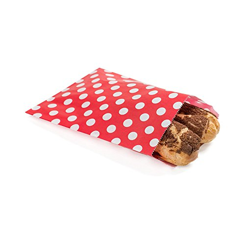 Disposable Paper Bags, Cookie Bags, Deli Bags, Bakery Bags - Red with White Polka Dots - 7