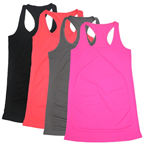 Wicking Tank Top Color - BollyQueena Workout Tank Tops, Women's Racerback Tank Tops for Women Long Tank Tops for Women Pack of 4 L