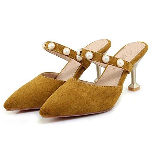 TAOFFEN Moda Scarpe Chiuse Donna Pantofole giallo TU1qTr