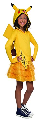 [Rubie's Costume Pokemon Pikachu Child Hooded Costume Dress Costume, Medium] (Pikachu Costumes Women)