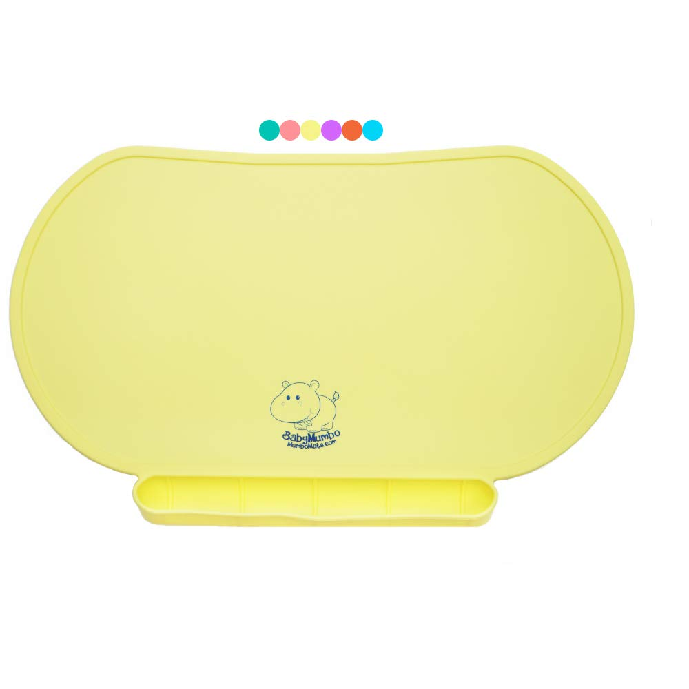 Children Place Mat by Baby Mumbo, Premium Quality, Food Grade Silicone for Maximum Hygiene, Unique Raised Edges Design and Spill Proof Accident Tray, Lightweight and Portable, 6 Colors (Yummy Yellow)