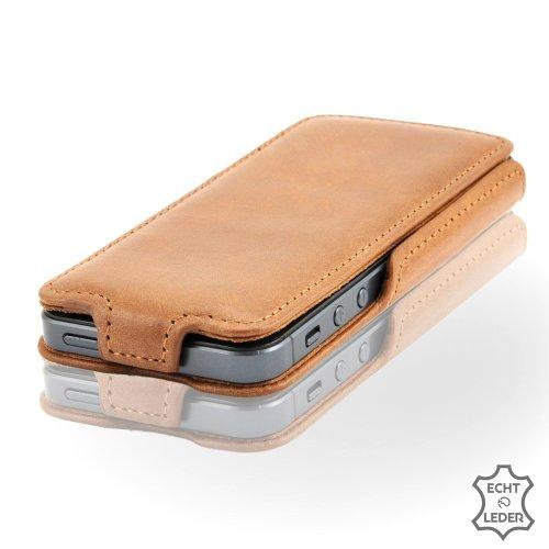 Zaprado exklusive Apple iPhone SE / 5S / 5 Ledertasche aus brasilianischem Echtleder Hülle Karamell Braun
