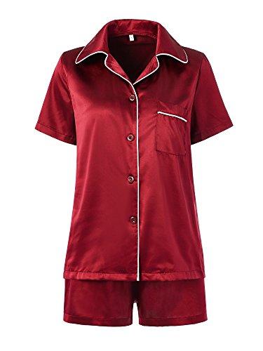 Pyjama for Women with Shorts,Satin pj Set Silky Button Front Cool Night Sleepwear