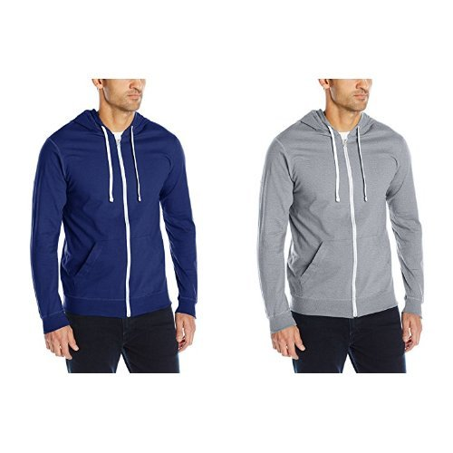 Men's Jersey Full-Zip Hood, Admiral Blue, Large with   Heather Grey, ()