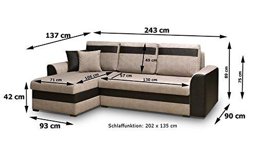 MEUBLO Petit canapé d'angle Convertibles 3 Place Tissu ZENO (Gris Clair, Canapé d'angle Gauche)