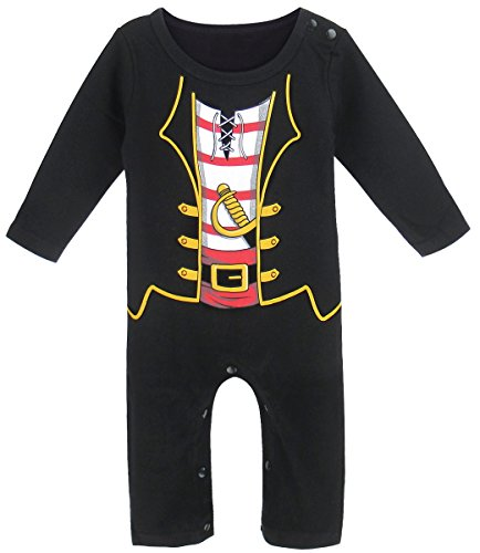 (Mombebe Baby Boys' Pirate Long Costume Romper (3-6 Months,)