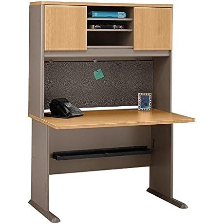Bush BBF Series A 48 Wood Office Desk With Hutch In Light Oak