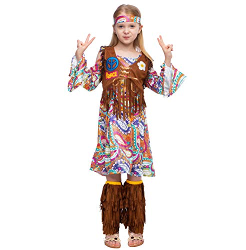 Peace Love 60s/70s Happy Hippie Girl Costume with Hippie Accessories for Kids (Small (5-7yr)) ()