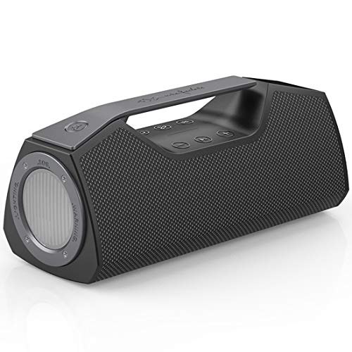 Wharfedale Wireless Bluetooth Speakers 5000mAh Battery Power Bank Outdoor Portable IPX7 Waterproof Speaker with Powerful Bass for iPhone Tablet and Laptop-Loud Clear Stereo Sound -100ft Range-Grey