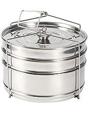 Stapelbare Steamer Inzetpannen met Sling voor Instant Pot Accessoires - Pot in Pot, Bakken, Casseroles, Lasagne Pannen, Voedsel Steamer voor Snelkookpan, Upgrade Verwisselbare Deksels