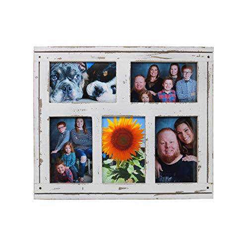 4x6 White Picture Frames Collage - Wall Picture Frames Holds Set Of Five Pictures - Rustic Distressed Wood Multi Collage Photo Frames - Display On Table Or By Wall Hanging Clips - Wall Decor (Rustic Family Picture Frames)