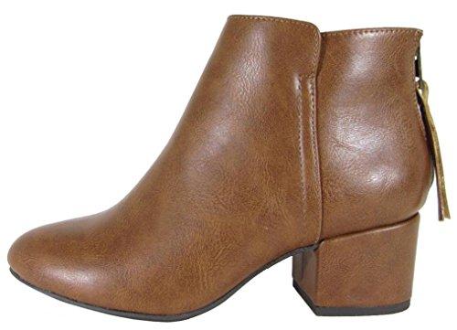 Ciudad Clasificada Mujeres Cerrado Round Toe Back Zip Chunky Block Heel Tobillo Botaie Cognac Pu