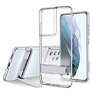 ESR Metal Kickstand Case Compatible with Samsung Galaxy S21 Ultra 6.8-Inch 2021, Slim Silicone Portrait and Landscape…