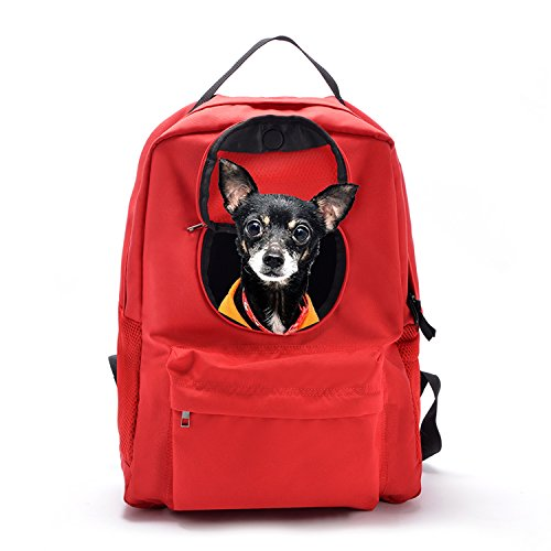 SOURCER Lightweight Pet Cat Dog Carrier Backpack, Classic Superbreak with Breathable Windows – Red
