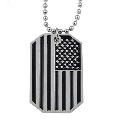 The Masonic Exchange American Flag USA Patriot Freedom Stars & Stripes Dog Tag Silver Pendant Necklace - 1 1/2