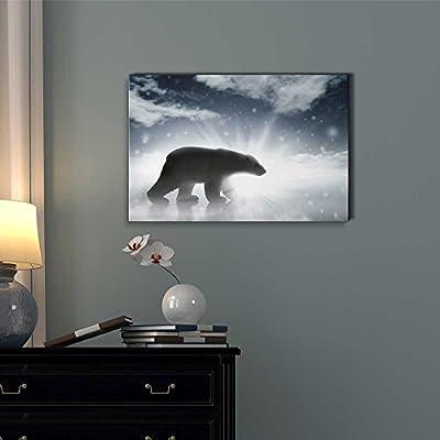 Polar Bear Silhouette In Arctic - Canvas Art
