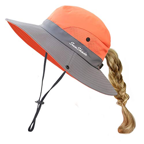 Toddler Child Kids Girls Summer Sun Hat UV Protection Wide Brim Beach Hat Floppy Bucket Hats for Fishing Gardening Orange
