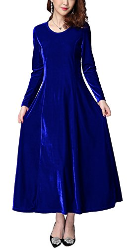 blue velvet dress long sleeve - 4