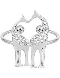 Gold Plated Silver Double Giraffe Cute Animal Open Ring For Women Fashion Girls Christmas Gifts Girl Jewelry
