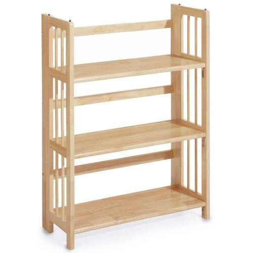 Folding Bookcase Mission - Mission Style 38 x 27.5 Inch Natural Folding / Stacking Bookcase, 27.5