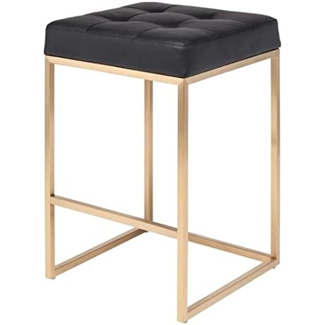 Chi Counter Stool 25 75 In Brushed Gold Stainless Steel Frame Black