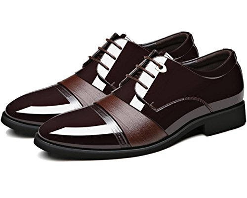 DADAWEN Herrenschuhe Herren Schnürhalbschuhe Elegant Lederschuhe Hochzeit Schuhe Berufsschuhe,Schwarz 41