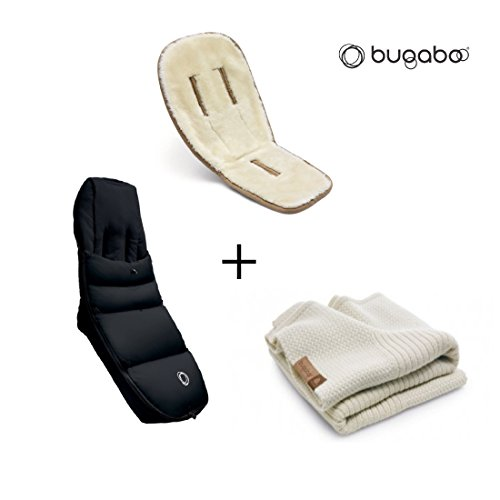 Bugaboo Winter Accessories Bundle: Wool Seat Liner, Off White Wool Blanket and Black High ()